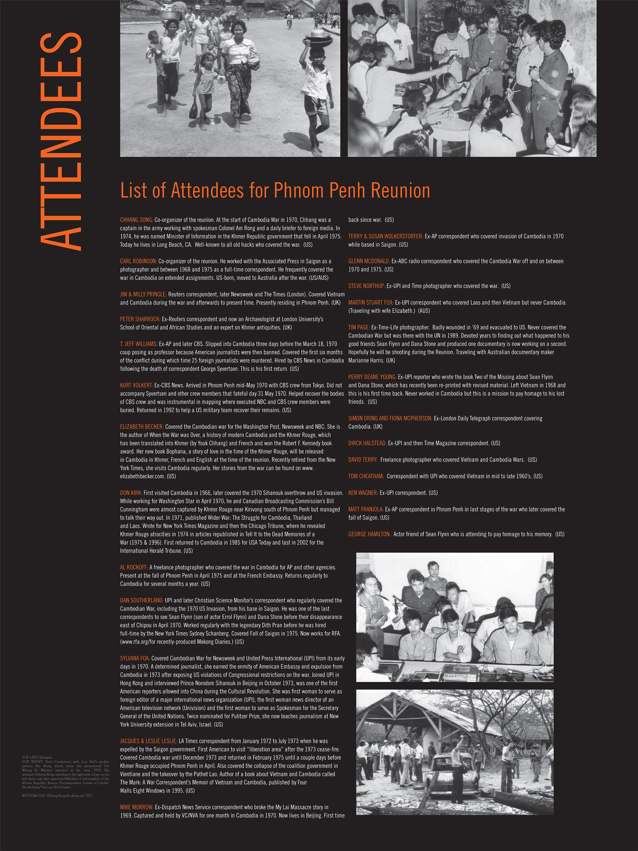 CAMBODIAN WAR: Attendees (2010)
